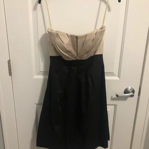 Women's WHBM Black/Gold Strapless Dress. Size 6.